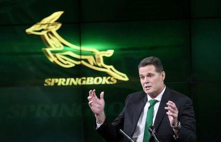 South Africa's rugby team new coach Rassie Erasmus gestures during a media briefing in Johannesburg, South Africa, March 1, 2018. REUTERS/Siphiwe Sibeko