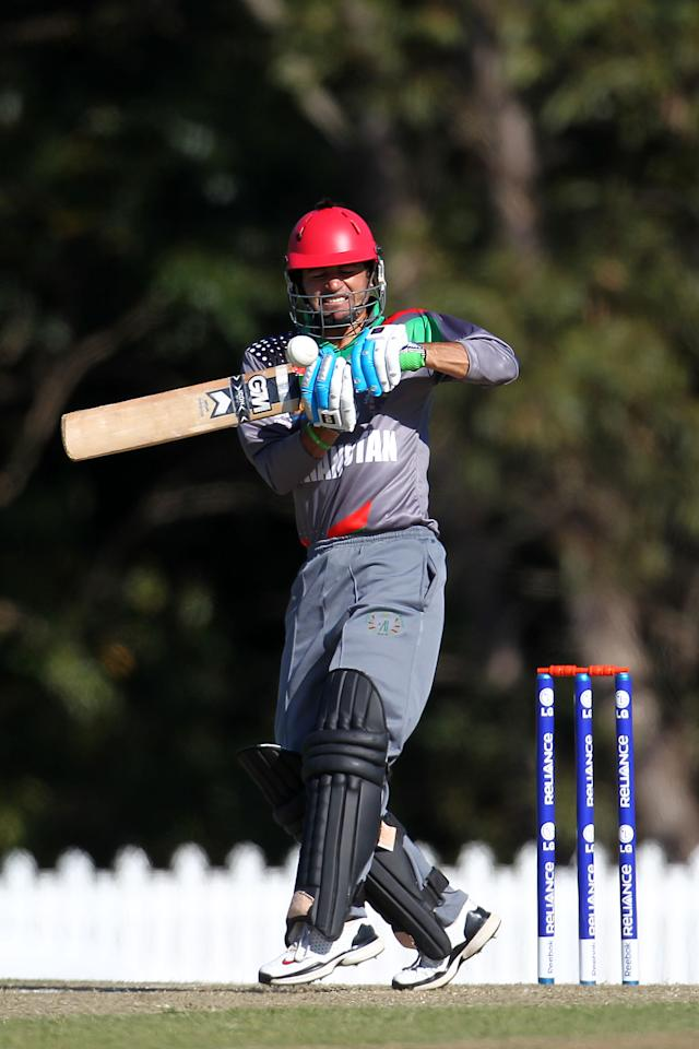 SUNSHINE COAST, AUSTRALIA - AUGUST 11:  Afsar Khann of Afghanistan bats during the ICC U19 Cricket World Cup 2012 match between Pakistan and Afghanistan at John Blanck Oval on August 11, 2012 in Sunshine Coast, Australia.  (Photo by Graham Denholm-ICC/Getty Images)