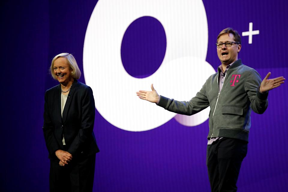 Mike Sievert, President and COO at T-Mobile, and Quibi CEO Meg Whitman talk about the partnership between Quibi and T-Mobile during a Quibi keynote address at the 2020 CES in Las Vegas, Nevada, U.S., January 8, 2020. REUTERS/Steve Marcus
