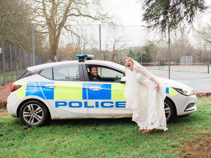 The police congratulated the couple on their big day Annie Crossman/SWNS
