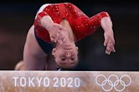 <p>TOKYO, JAPAN JULY 27, 2021: Grace McCallum of the United States performs her balance beam routine during the women's artistic gymnastics team all-around final at the 2020 Summer Olympic Games, at the Ariake Gymnastics Centre. Sergei Bobylev/TASS (Photo by Sergei Bobylev\TASS via Getty Images)</p>