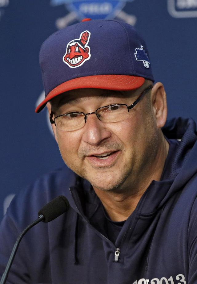FILE - In this Oct. 1, 2013, file photo, Cleveland Indians manager Terry Francona answers questions during news conference before practice for the American League wild-card baseball game in Cleveland. Francona was named the AL manager of the year by the Baseball Writers' Association of America, Tuesday, Nov. 12, 2013. (AP Photo/Mark Duncan, File)