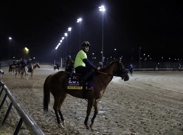 An exercise rider rides Blue Prize during morning workouts before the Breeders Cup horse races at Churchill Downs, Thursday, Nov. 1, 2018, in Louisville, Ky. (AP Photo/Darron Cummings)