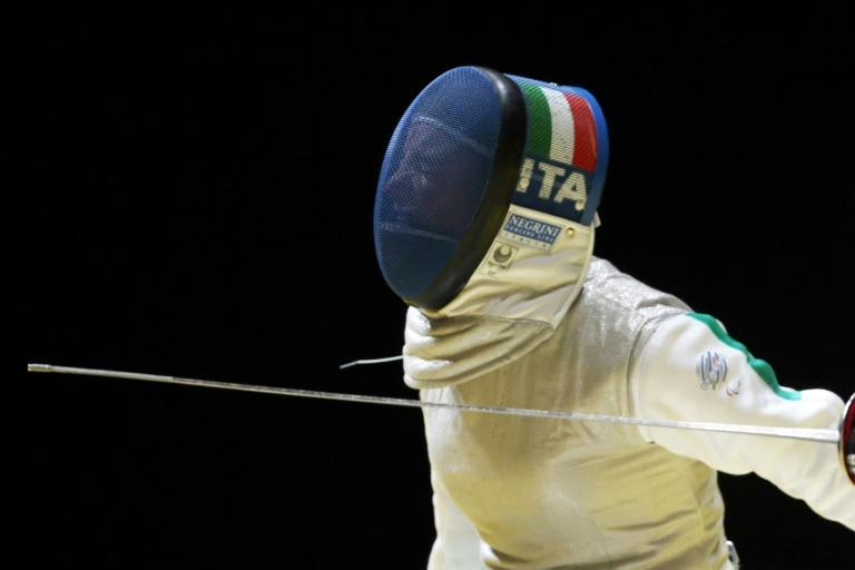 Italy's Beatrice Vio reacts after winning a point in the wheelchair fencing competition (AFP/Behrouz MEHRI)