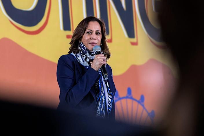 Democratic vice presidential nominee Sen. Kamala Harris speaks during a campaign stop Tuesday in Las Vegas.