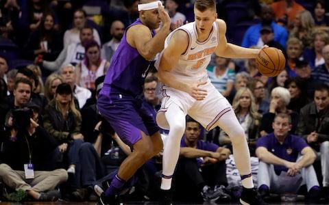 <span>Kristaps Porzingis' injury has stalled the Knicks' progress this year</span> <span>Credit: AP </span>