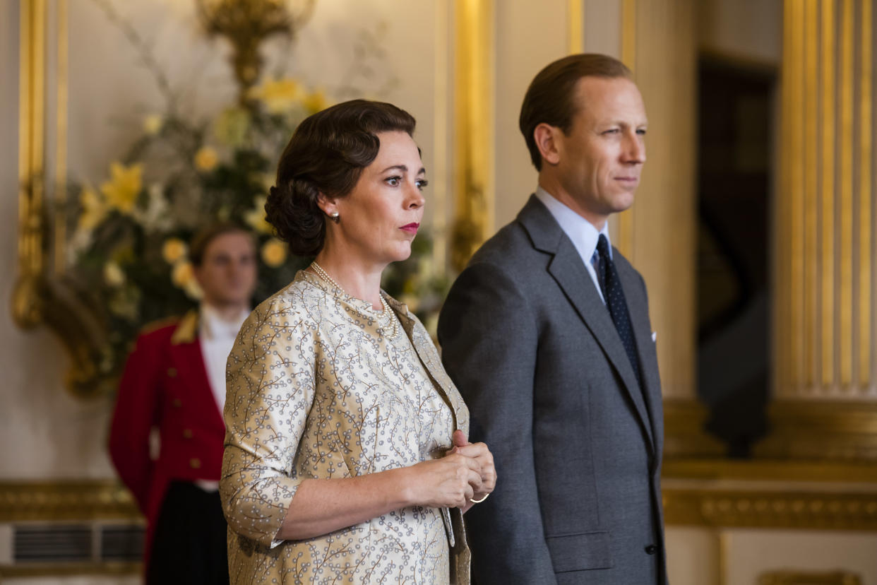 Tobias Menzies as Philip with Olivia Colman as the Queen (Netflix)