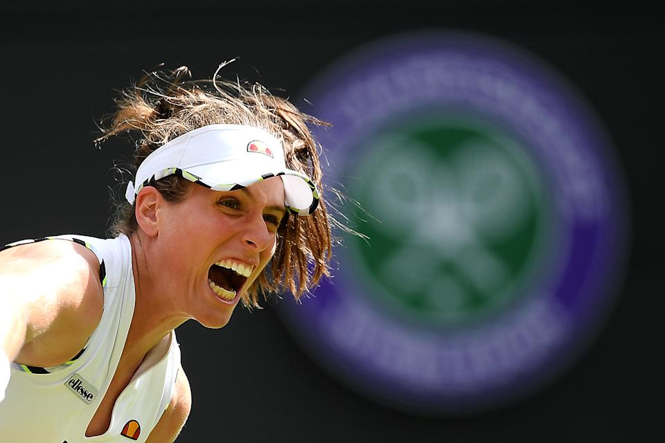 Johanna Konta of Great Britain serves in her Ladies' Singles first round match against Ana Bogdan of Romania during Day two of The Championships - Wimbledon 2019 at All England Lawn Tennis and Croquet Club on July 02, 2019 in London, England. (Photo by Mike Hewitt/Getty Images)
