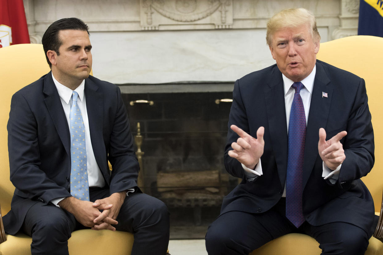 President Trump with Gov. Ricardo Rosselló of Puerto Rico at the White House in October 2017. (Photo: Kevin Dietsch— Pool/Getty Images)