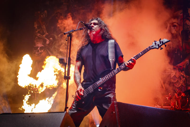 MONTREAL, QUEBEC - JULY 28: Tom Araya of Slayer performs at Heavy Montreal at Parc Jean-Drapeau on July 28, 2019 in Montreal, Canada. (Photo by Mark Horton/Getty Images)