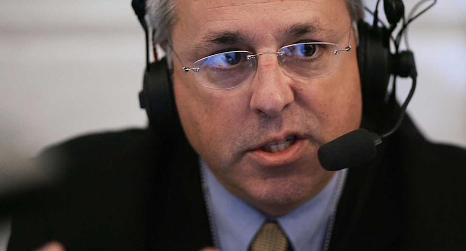 Marc Bernier of station WNDB of Orlando, Florida speaks to White House Deputy Chief of Staff Karl Rove during a radio interview.