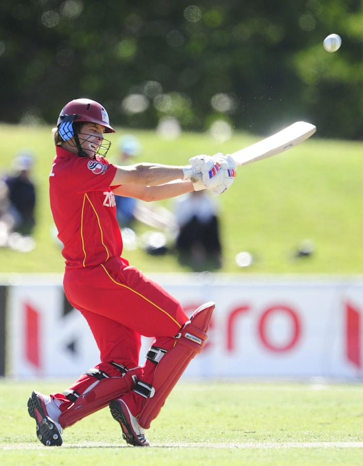 TOWNSVILLE, AUSTRALIA - AUGUST 14:  Ryan Burl of Zimbabwe bats during the ICC U19 Cricket World Cup 2012 match between India and Zimbabwe at Tony Ireland Stadium on August 14, 2012 in Townsville, Australia.  (Photo by Ian Hitchcock-ICC/Getty Images)