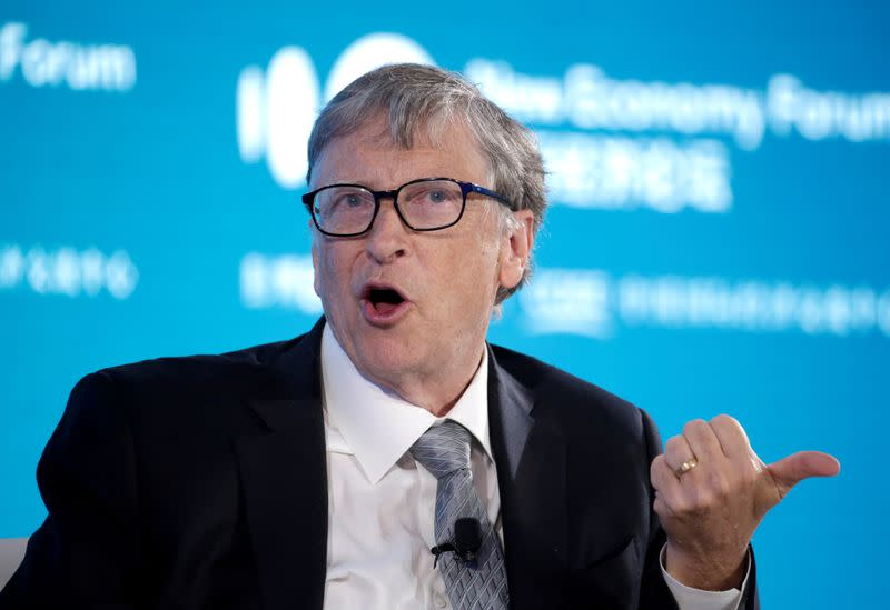 FILE PHOTO: Bill Gates, Co-Chair of Bill & Melinda Gates Foundation, attends a conversation at the 2019 New Economy Forum in Beijing