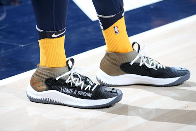 A closer look at Donovan Mitchell's MLK Day Dame 4s. (Getty)