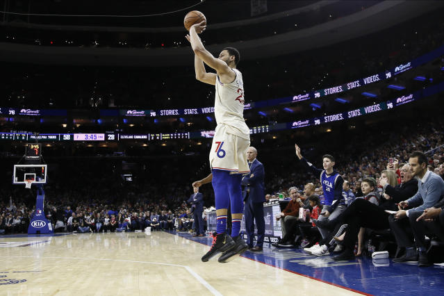 As you can see, Ben Simmons did not encounter much resistance while taking his 3-pointer. (AP Photo/Matt Slocum)