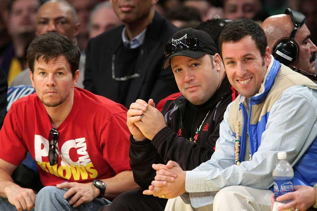 "Mark Wahlberg, Kevin James, and Adam Sandler were among the celebrities who spent Christmas at the Lakers-Celtics game. Noel Vasquez/<a href=""http://www.gettyimages.com/"" target=""new"">GettyImages.com</a> - December 25, 2008"