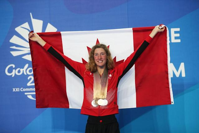 17-year-old Canadian swimmer Taylor Ruck won her eight medal at the Commonwealth Games on Tuesday, matching the record for the most medals at a single Games by any athlete.
