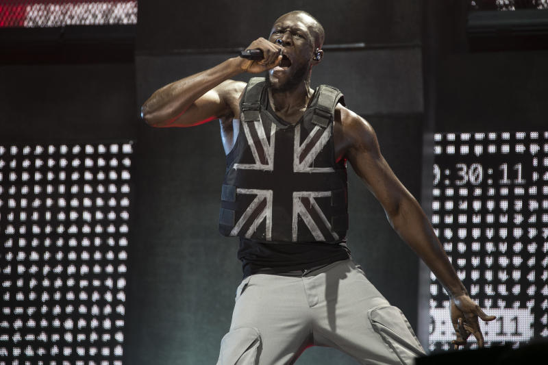 Singer Stormzy performs on the third day of Glastonbury Festival at Worthy Farm, Somerset, England, Friday, June 28, 2019.(Photo by Joel C Ryan/Invision/AP)