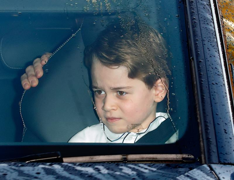 Prince George of Cambridge attends a Christmas lunch for members of the Royal Family hosted by Queen Elizabeth II at Buckingham Palace on December 18, 2019 in London, England.