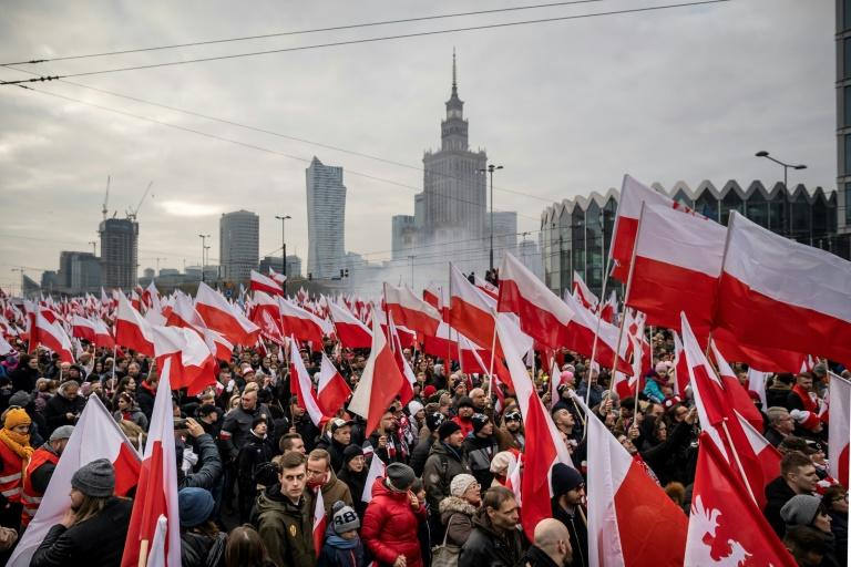 Tens of thousands of people took part in a march organised by the far right to mark Poland's Independence Day