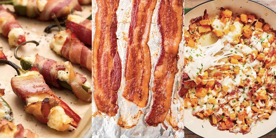 """<p>Let's face it, bacon is a TOP-TIER ingredient. Crispy, salty and fatty, it can take any standard recipe to the next level. Not to mention, it's damn delicious on its own! Whether you fancy whipping up a <a href=""""https://www.delish.com/uk/cooking/recipes/a29827202/bacon-and-broccoli-chicken-alfredo-recipe/"""" rel=""""nofollow noopener"""" target=""""_blank"""" data-ylk=""""slk:Bacon & Broccoli Chicken Alfredo"""" class=""""link rapid-noclick-resp"""">Bacon & Broccoli Chicken Alfredo</a>, <a href=""""https://www.delish.com/uk/cooking/recipes/a29982406/creamy-asparagus-bacon-risotto-recipe/"""" rel=""""nofollow noopener"""" target=""""_blank"""" data-ylk=""""slk:Asparagus Bacon Risotto"""" class=""""link rapid-noclick-resp"""">Asparagus Bacon Risotto</a> or a batch of <a href=""""https://www.delish.com/uk/cooking/recipes/a34490780/bacon-avocado-bombs-recipe/"""" rel=""""nofollow noopener"""" target=""""_blank"""" data-ylk=""""slk:Bacon Avocado Bombs"""" class=""""link rapid-noclick-resp"""">Bacon Avocado Bombs</a>, we've got plenty of easy bacon recipes for you to give a go. What's more, we've got easy-to-follow guides on cooking bacon in the <a href=""""https://www.delish.com/uk/cooking/recipes/a31424224/air-fryer-bacon-recipe/"""" rel=""""nofollow noopener"""" target=""""_blank"""" data-ylk=""""slk:air fryer"""" class=""""link rapid-noclick-resp"""">air fryer</a> (yes, really), <a href=""""https://www.delish.com/uk/cooking/recipes/a30208165/how-to-cook-bacon-in-the-oven-recipe/"""" rel=""""nofollow noopener"""" target=""""_blank"""" data-ylk=""""slk:oven"""" class=""""link rapid-noclick-resp"""">oven</a> and <a href=""""https://www.delish.com/uk/cooking/recipes/a30413651/microwave-bacon/"""" rel=""""nofollow noopener"""" target=""""_blank"""" data-ylk=""""slk:microwave"""" class=""""link rapid-noclick-resp"""">microwave</a>. You're welcome!</p><p>And a little word of warning... you'll have never seen the phrase 'bacon-wrapped' so many times in your life. Just saying. </p>"""