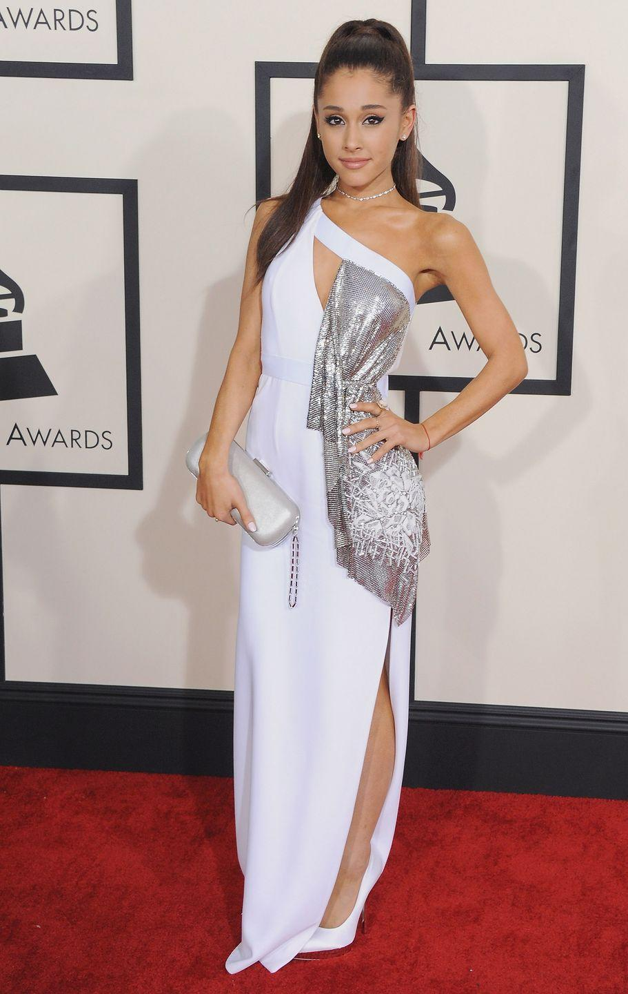 <p>Ariana Grande at the Grammys wearing a one-shouldered Versace gown.</p>