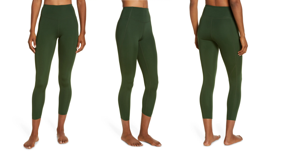 Stock up on the Zella High Waist Studio Lite Pocket 7/8 Leggings while you can. Images via Nordstrom.