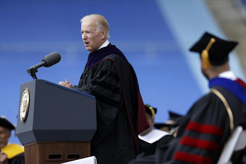Vice President Joe Biden gives the commencement address at the University of Pennsylvania's 257th Commencement, Monday, May 13, 2013, in Philadelphia. (AP Photo/Matt Rourke)