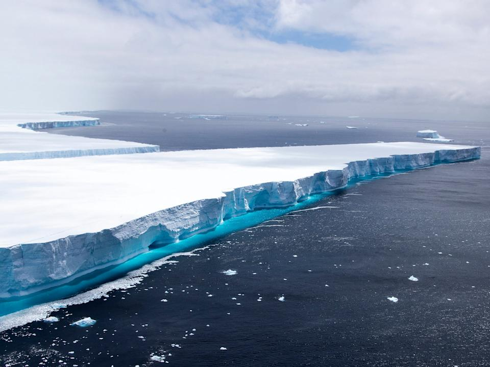 One of the largest recorded icebergs, A68a, floating near the island of South Georgia in the South Atlantic, 23 December 2020 (AP)