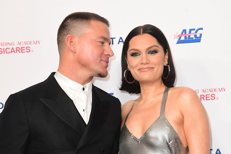 British singer-songwriter Jessie J (R) and boyfriend US actor Channing Tatum attend the 2020 MusiCares Person Of The Year gala honoring US rock band Aerosmith at the Los Angeles Convention Center in Los Angeles on January 24, 2020. (Photo by Frederic J. BROWN / AFP) (Photo by FREDERIC J. BROWN/AFP via Getty Images)