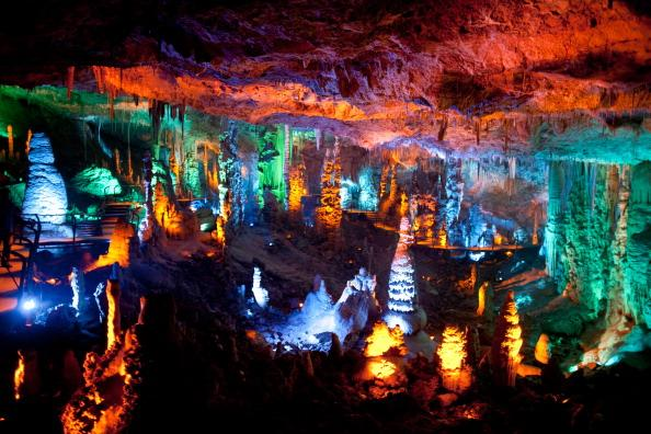 A general view of the Sorek stalactites cave as it is illuminated with a new lighting system on August 9, 2012 near Beit Shemesh, Israel. The cave, 82 meters long and 60 meters wide, was discovered accidentally by workers blasting at the nearby quarry in 1968. (Photo by Uriel Sinai/Getty Images)