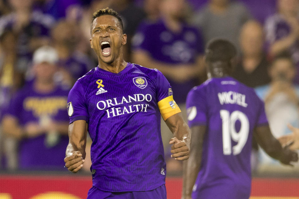 Orlando City forward Nani spent several seasons with Javier Hernandez at Manchester United. (Photo by Joe Petro/Icon Sportswire via Getty Images)