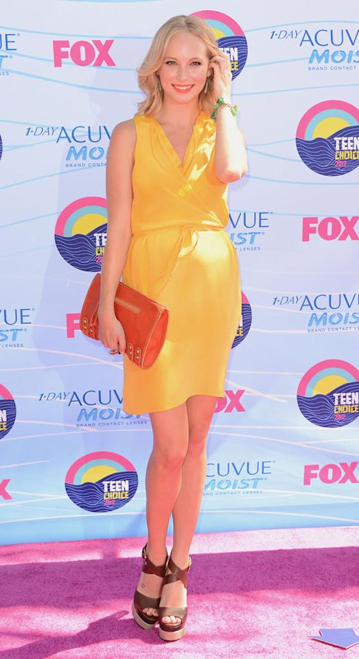 Actress Candice Accola arrives at the 2012 Teen Choice Awards at Gibson Amphitheatre on July 22, 2012 in Universal City, California.