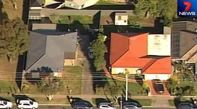 Aerial shots of one of the homes believed to have been raided as part of a joint AFP and Victoria Police counter-terror operation. Photo: 7News