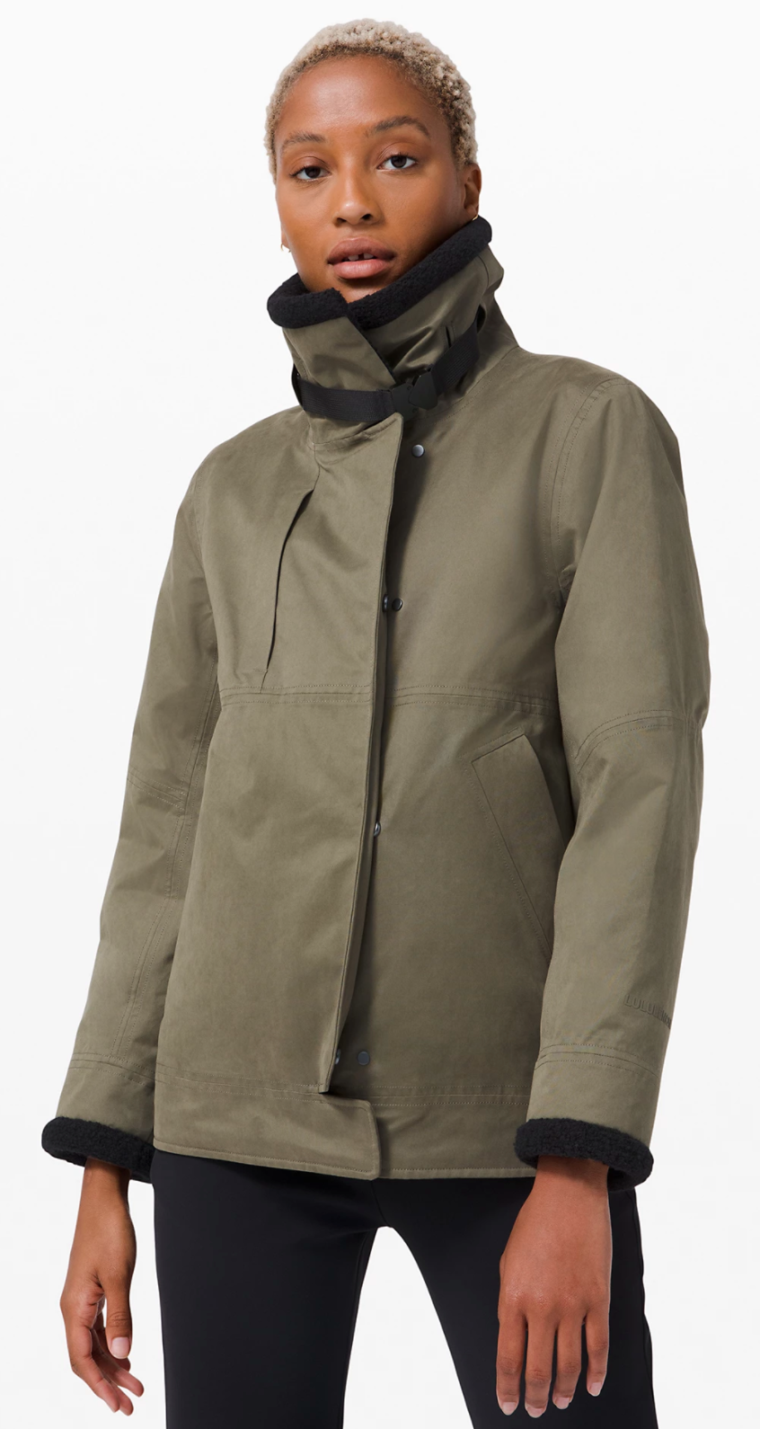 Resolute Warmth Jacket in Fatigue Green/Black (Photo via Lululemon Athletica)