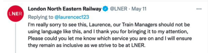 LNER apologised, saying its train managers should not be using