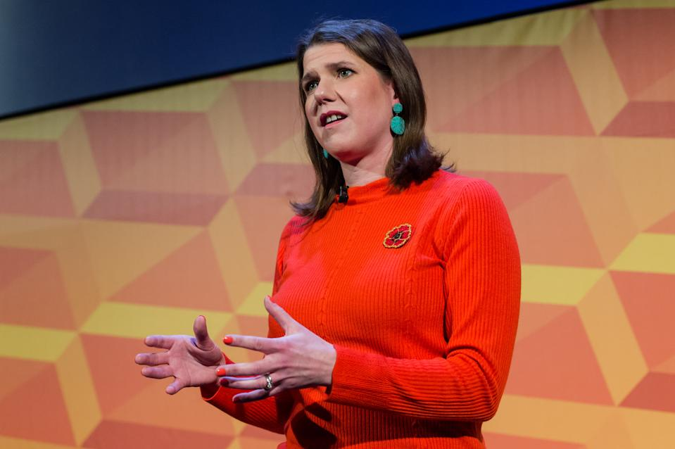 LONDON, UNITED KINGDOM - November 09, 2019: Leader of the Liberal Democrats Jo Swinson address her party's supporters during Rally for the Future at Battersea Arts Centre on 09 November, 2019 in London, England. Jo Swinson sets out the Liberal Democrats vision to stop Brexit and announces plans to introduce free childcare from 9 months old as the party campaigns for the General Election 2019.- PHOTOGRAPH BY Wiktor Szymanowicz / Barcroft Media (Photo credit should read Wiktor Szymanowicz / Barcroft Media via Getty Images)