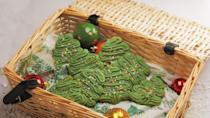 """<p>This Christmas cookie recipe is easy to make - leave out the green food colouring if you prefer</p><p><strong>Recipe: <a href=""""https://www.goodhousekeeping.com/uk/food/recipes/a557426/christmas-spritz-cookies/"""" rel=""""nofollow noopener"""" target=""""_blank"""" data-ylk=""""slk:Christmas spritz biscuits"""" class=""""link rapid-noclick-resp"""">Christmas spritz biscuits</a></strong></p>"""