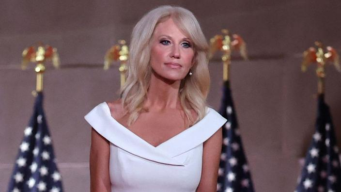 This August 2020 photo shows then-White House Counselor to the President Kellyanne Conway pausing between takes while pre-recording her address to the Republican National Convention from inside an empty Mellon Auditorium. (Photo by Chip Somodevilla/Getty Images)