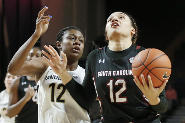 South Carolina guard Brea Beal, right, drives against Vanderbilt's Demi Washington, left, in the first half of an NCAA college basketball game Sunday, Jan. 12, 2020, in Nashville, Tenn. (AP Photo/Mark Humphrey)
