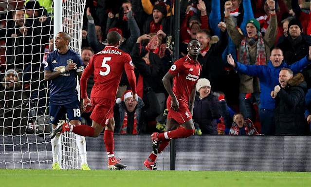 Sadio Mane celebrate's Liverpool's first goal against Manchester United