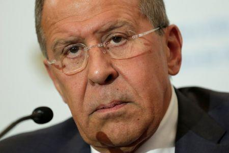 Russian Foreign Minister Sergey Lavrov speaks at his news conference