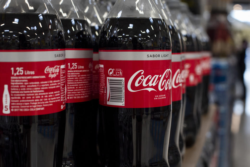 SPAIN - 2019/06/20: Bottles of American soft drink brand Coca-Cola displayed for sale at the Carrefour supermarket in Spain. (Photo by Budrul Chukrut/SOPA Images/LightRocket via Getty Images)