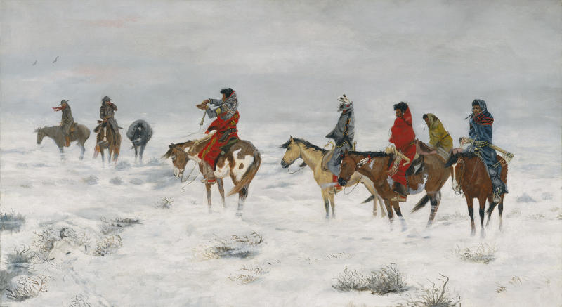 This undated photo provided by the Amon Carter Museum of American Art, shows Charles M. Russell's, Lost in a Snowstorm. The painting will be included in an exhibit opening next year at the Dallas Museum of Art that will feature almost all of the works of art gathered from museums and prominent Fort Worth citizens for the hotel suite John F. Kennedy and first lady Jacqueline Kennedy stayed in the night before he was assassinated. (AP Photo/ Amon Carter Museum of American Art)