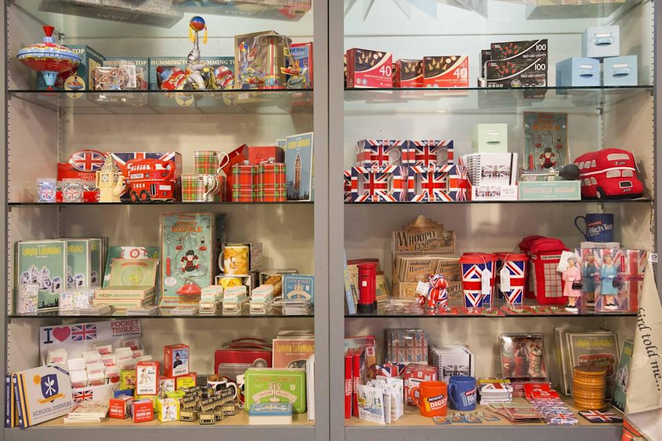 Some of the patriotic souvenirs in Chris Ostwald's British-themed store. (SWNS)