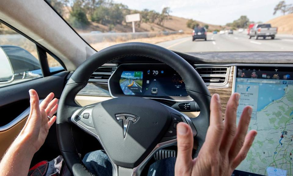 Inside a Tesla Model S car equipped with autopilot in Palo Alto, California.