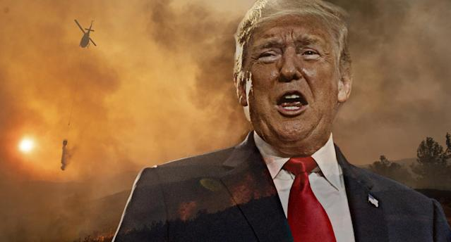 President Trump, Ranch Fire in Clearlake Oaks, Calif. (Photo illustration: Yahoo News; photos: Carolyn Kaster/AP, Josh Edelson/AP)
