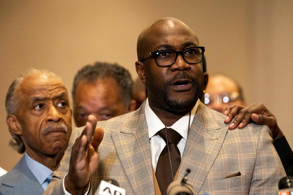 Philonise Floyd, George Floyd's brother, speaks following the verdict in the trial of former police officer Derek Chauvin in Minneapolis on April 20. (Photo: KEREM YUCEL via Getty Images)