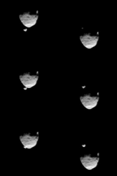 These six images from NASA's Mars rover Curiosity show the two moons of Mars moments before (left three) and after (right three) the larger moon, Phobos, occulted Deimos on Aug. 1, 2013. On each side, the top image is earlier in time than the o