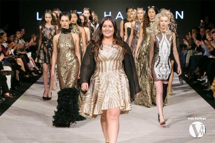 Plus-size model Tia Duffy struts her stuff for Lesley Hampton at Vancouver Fashion Week